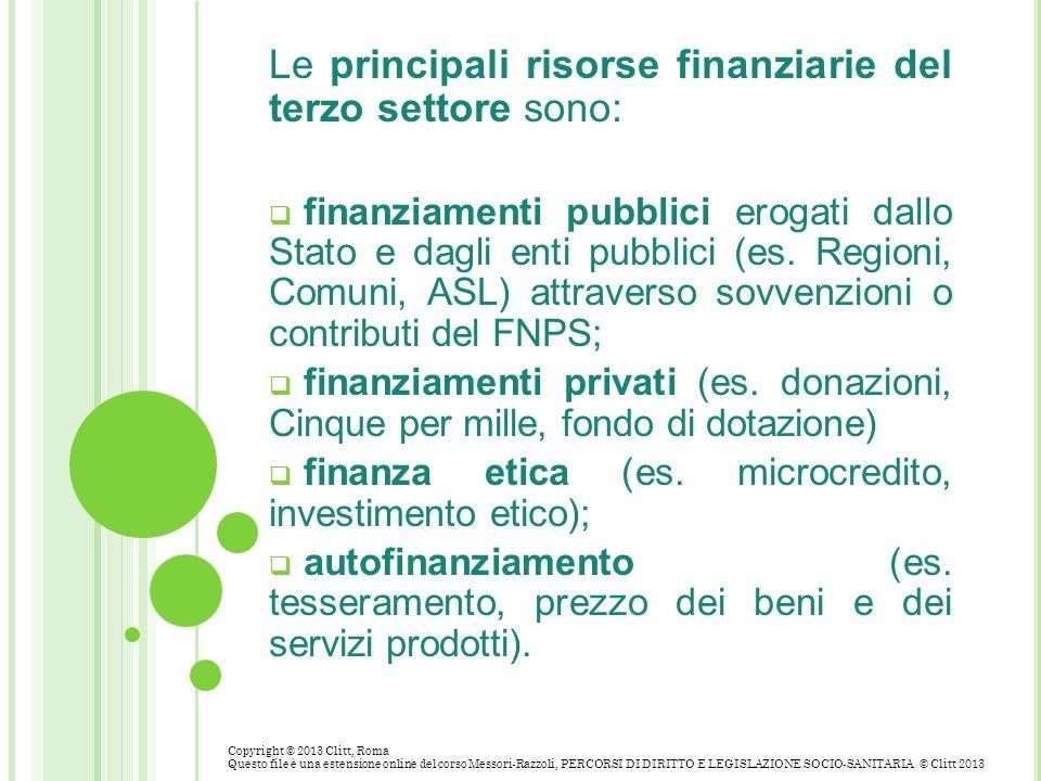 Le principali risorse finanziarie del terzo settore sono: finanziamenti pubblici erogati dallo Stato e dagli enti pubblici (es. Regioni, Comuni, ASL)