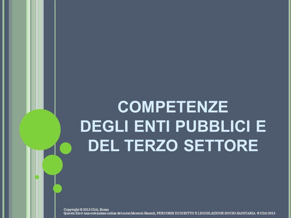 COMPETENZE DEGLI ENTI PUBBLICI E DEL TERZO SETTORE Copyright © 2013 Clitt, Roma Questo file è una estensione online del corso Messori-Razzoli, PERCORS