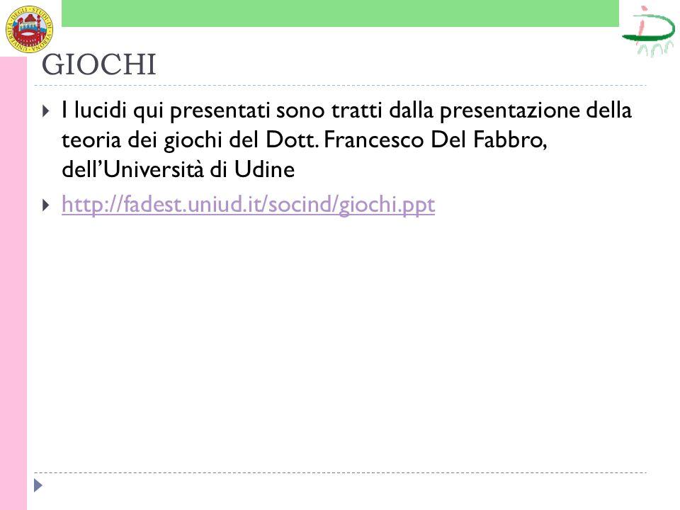GIOCHI I lucidi qui presentati sono tratti dalla presentazione della teoria dei giochi del Dott. Francesco Del Fabbro, dellUniversità di Udine http://