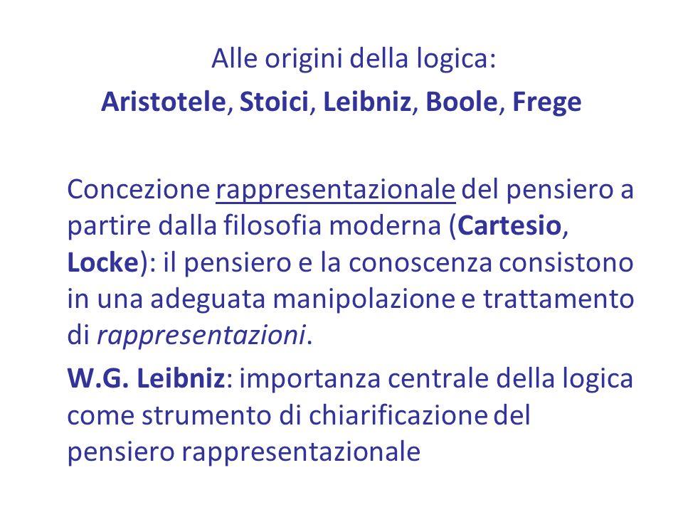 Alle origini della logica: Aristotele, Stoici, Leibniz, Boole, Frege Concezione rappresentazionale del pensiero a partire dalla filosofia moderna (Cartesio, Locke): il pensiero e la conoscenza consistono in una adeguata manipolazione e trattamento di rappresentazioni.