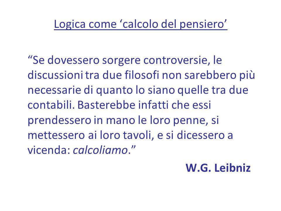 Logica come calcolo del pensiero Se dovessero sorgere controversie, le discussioni tra due filosofi non sarebbero più necessarie di quanto lo siano quelle tra due contabili.