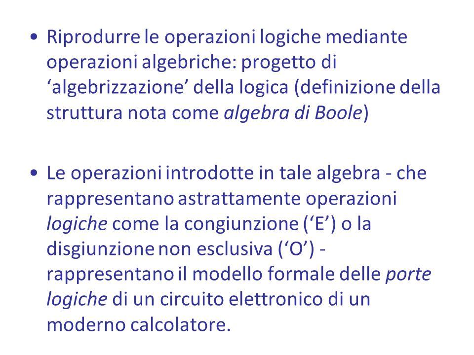 Riprodurre le operazioni logiche mediante operazioni algebriche: progetto di algebrizzazione della logica (definizione della struttura nota come algebra di Boole) Le operazioni introdotte in tale algebra - che rappresentano astrattamente operazioni logiche come la congiunzione (E) o la disgiunzione non esclusiva (O) - rappresentano il modello formale delle porte logiche di un circuito elettronico di un moderno calcolatore.