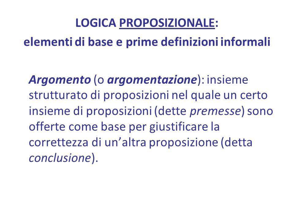 LOGICA PROPOSIZIONALE: elementi di base e prime definizioni informali Argomento (o argomentazione): insieme strutturato di proposizioni nel quale un certo insieme di proposizioni (dette premesse) sono offerte come base per giustificare la correttezza di unaltra proposizione (detta conclusione).