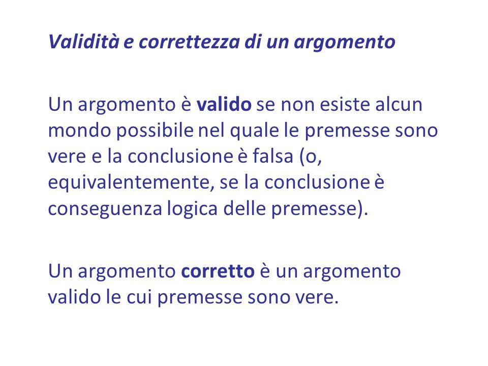 Validità e correttezza di un argomento Un argomento è valido se non esiste alcun mondo possibile nel quale le premesse sono vere e la conclusione è falsa (o, equivalentemente, se la conclusione è conseguenza logica delle premesse).