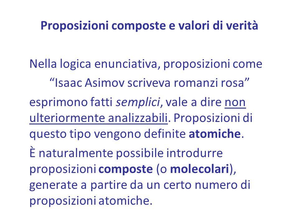Proposizioni composte e valori di verità Nella logica enunciativa, proposizioni come Isaac Asimov scriveva romanzi rosa esprimono fatti semplici, vale a dire non ulteriormente analizzabili.