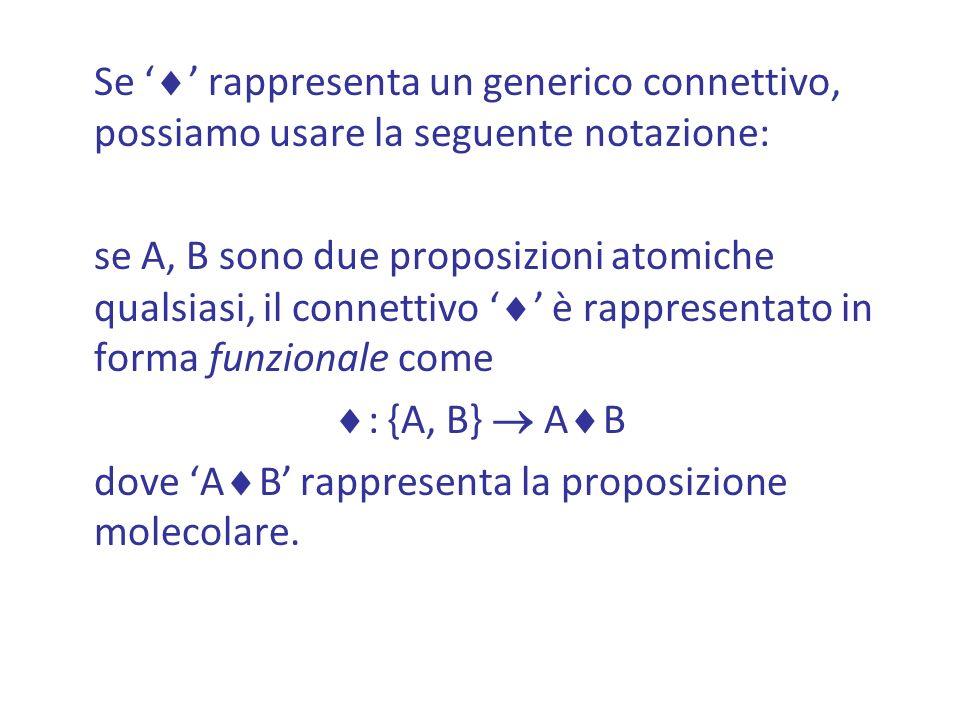 Se rappresenta un generico connettivo, possiamo usare la seguente notazione: se A, B sono due proposizioni atomiche qualsiasi, il connettivo è rappresentato in forma funzionale come : {A, B} A B dove A B rappresenta la proposizione molecolare.