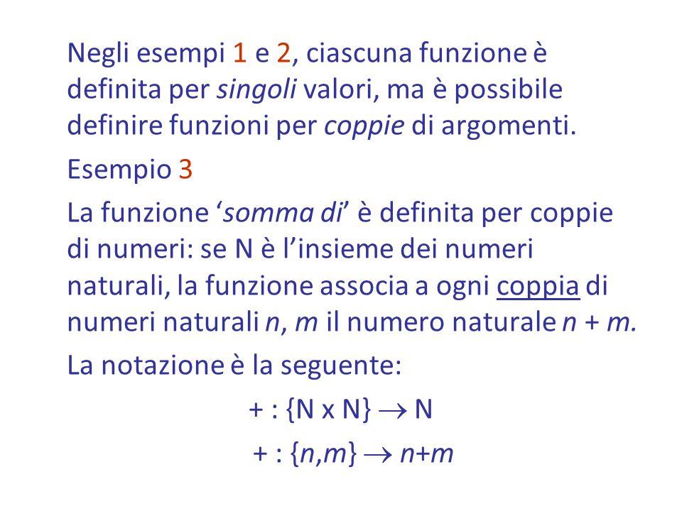 Negli esempi 1 e 2, ciascuna funzione è definita per singoli valori, ma è possibile definire funzioni per coppie di argomenti.