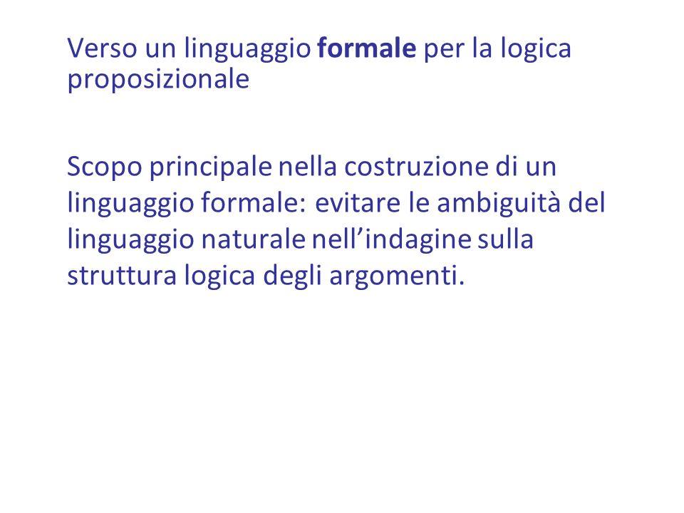 Verso un linguaggio formale per la logica proposizionale Scopo principale nella costruzione di un linguaggio formale: evitare le ambiguità del linguaggio naturale nellindagine sulla struttura logica degli argomenti.