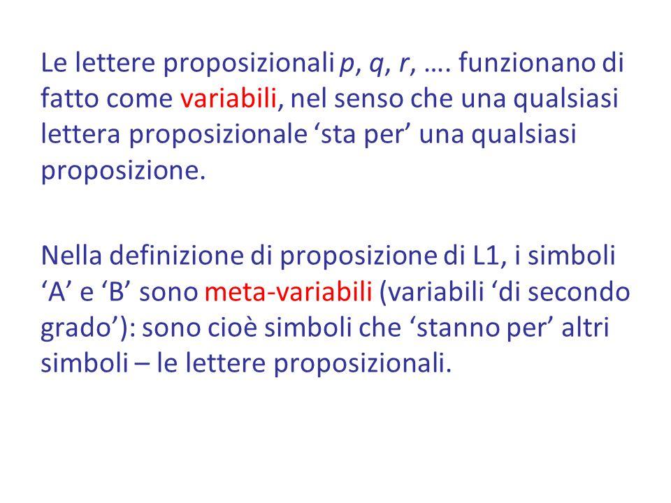Le lettere proposizionali p, q, r, ….