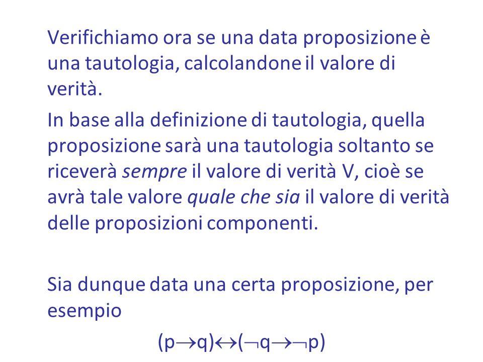 Verifichiamo ora se una data proposizione è una tautologia, calcolandone il valore di verità.