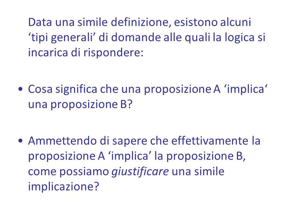 Data una simile definizione, esistono alcuni tipi generali di domande alle quali la logica si incarica di rispondere: Cosa significa che una proposizione A implica una proposizione B.