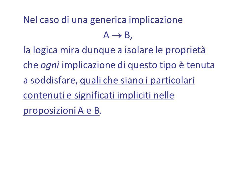 Nel caso di una generica implicazione A B, la logica mira dunque a isolare le proprietà che ogni implicazione di questo tipo è tenuta a soddisfare, quali che siano i particolari contenuti e significati impliciti nelle proposizioni A e B.