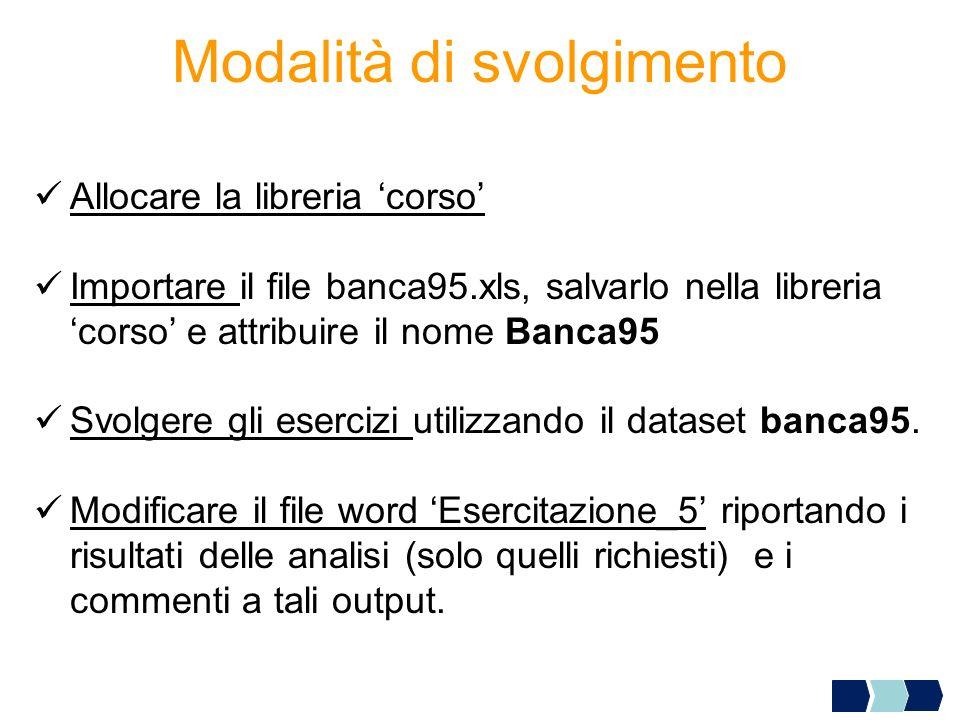 Modalità di svolgimento Allocare la libreria corso Importare il file banca95.xls, salvarlo nella libreria corso e attribuire il nome Banca95 Svolgere
