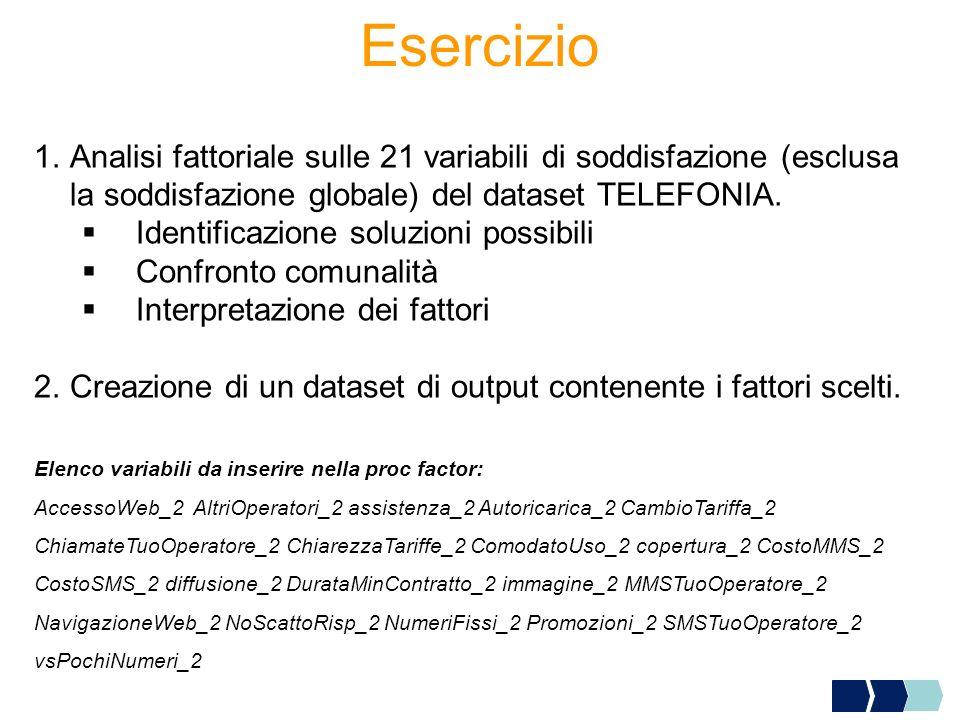 Esercizio 1.Analisi fattoriale sulle 21 variabili di soddisfazione (esclusa la soddisfazione globale) del dataset TELEFONIA. Identificazione soluzioni