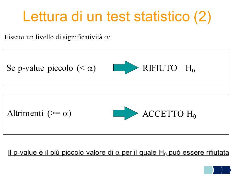 Lettura di un test statistico (2) Se p-value piccolo (< ) RIFIUTO H 0 Altrimenti (>= ) ACCETTO H 0 Il p-value è il più piccolo valore di per il quale