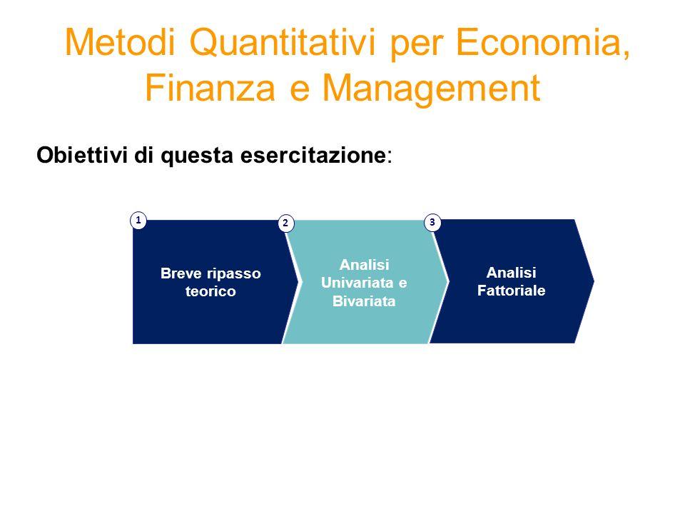 Metodi Quantitativi per Economia, Finanza e Management Obiettivi di questa esercitazione: Breve ripasso teorico 1 Analisi Univariata e Bivariata 2 Ana