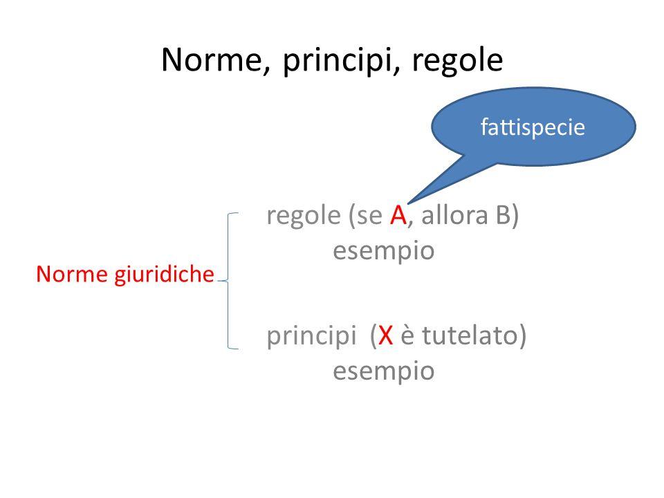 Norme, principi, regole regole (se A, allora B) esempio principi (X è tutelato) esempio Norme giuridiche fattispecie