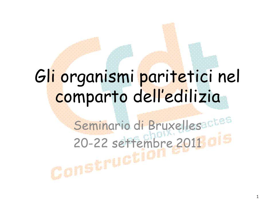 Gli organismi paritetici nel comparto delledilizia Seminario di Bruxelles 20-22 settembre 2011 1