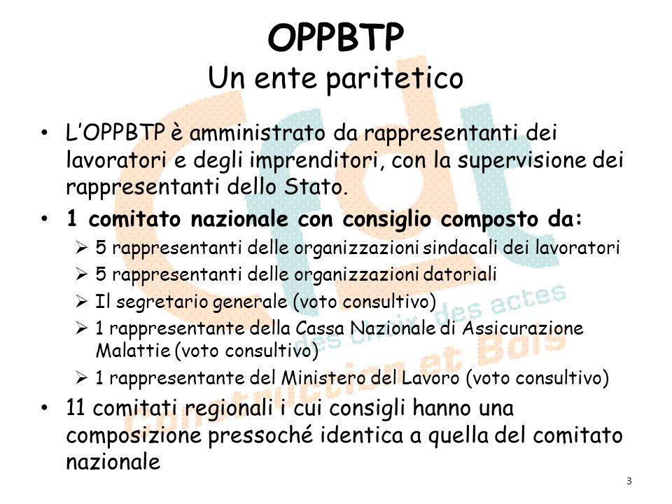 OPPBTP Un ente paritetico LOPPBTP è amministrato da rappresentanti dei lavoratori e degli imprenditori, con la supervisione dei rappresentanti dello S
