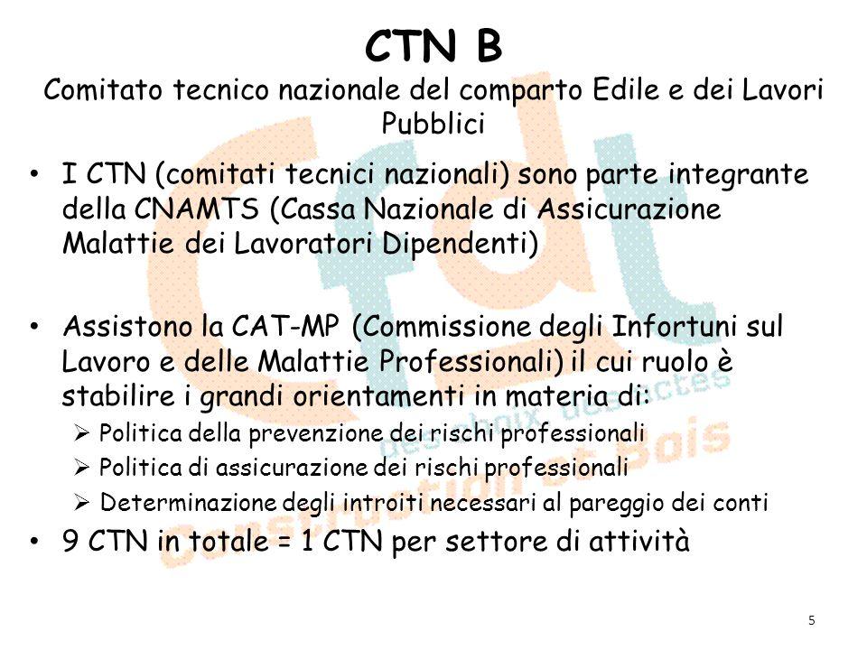 CTN B Comitato tecnico nazionale del comparto Edile e dei Lavori Pubblici I CTN (comitati tecnici nazionali) sono parte integrante della CNAMTS (Cassa
