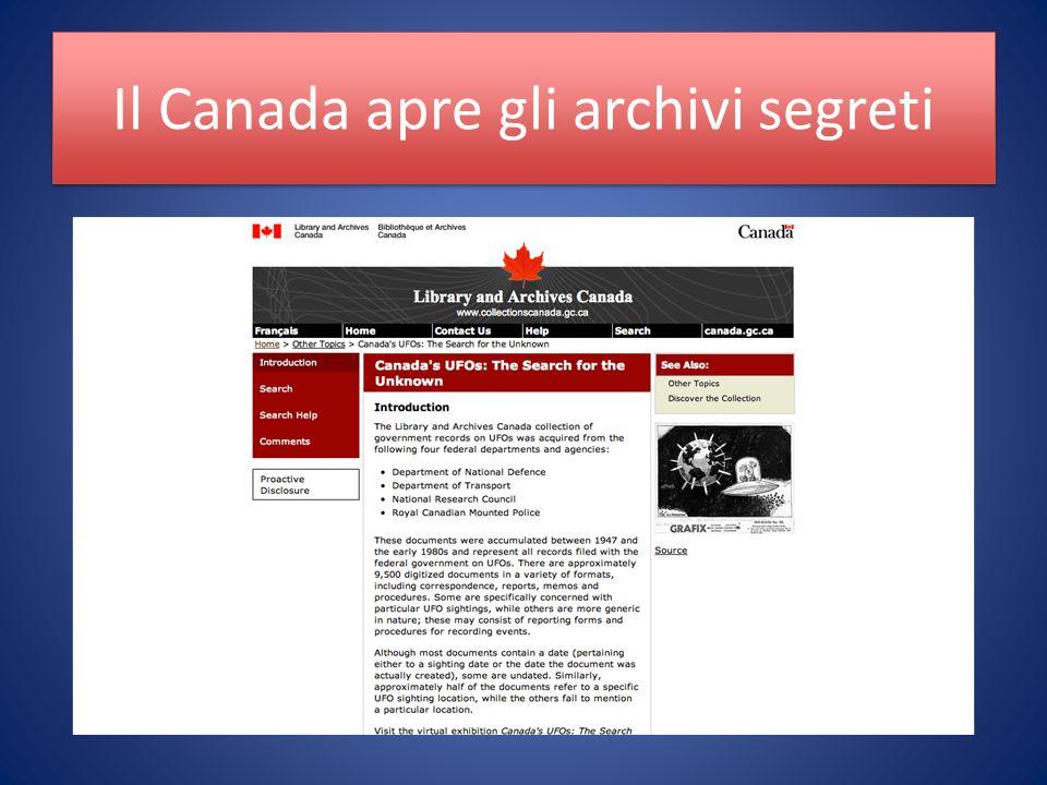 Il Canada apre gli archivi segreti