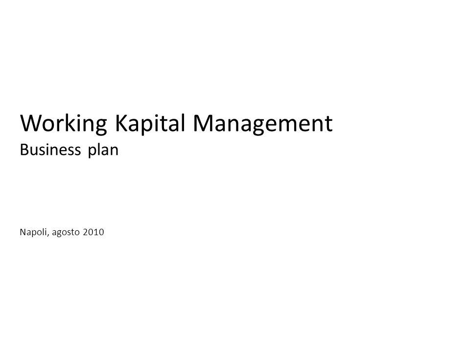Working Kapital Management Business plan Napoli, agosto 2010