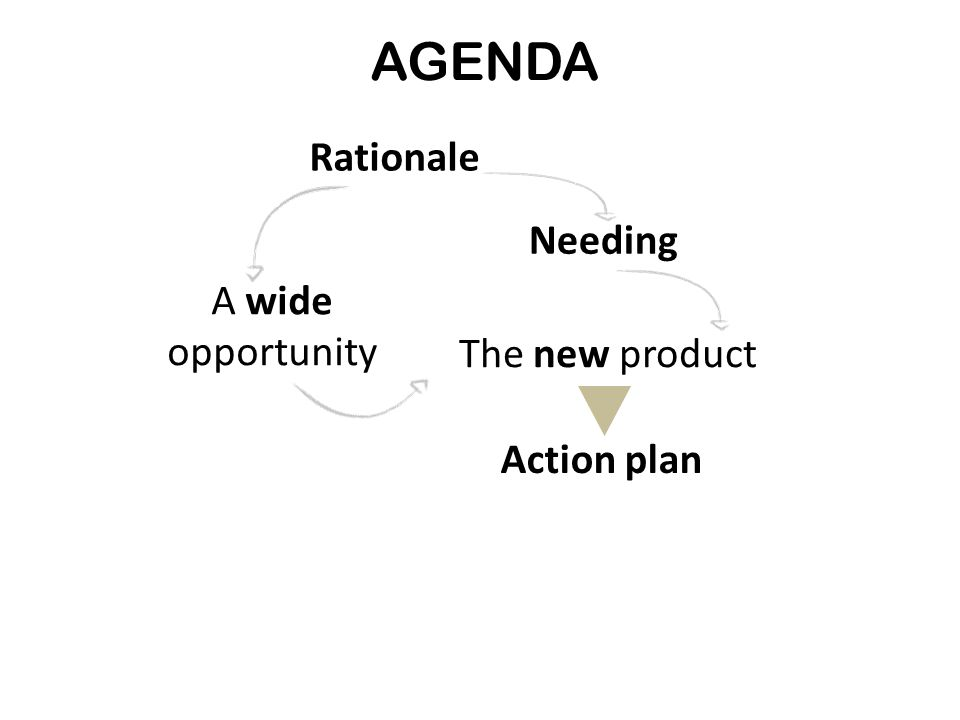 AGENDA Rationale A wide opportunity Needing Action plan The new product Rationale A wide opportunity Needing Action plan The new product