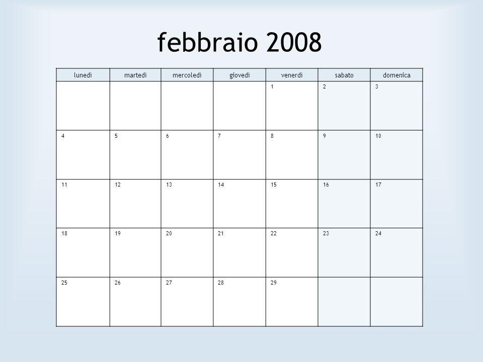febbraio 2008 lunedìmartedìmercoledìgiovedìvenerdìsabatodomenica 123 45678910 11121314151617 18192021222324 2526272829