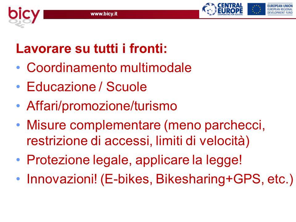 www.bicy.it Lavorare su tutti i fronti: Coordinamento multimodale Educazione / Scuole Affari/promozione/turismo Misure complementare (meno parchecci, restrizione di accessi, limiti di velocità) Protezione legale, applicare la legge.