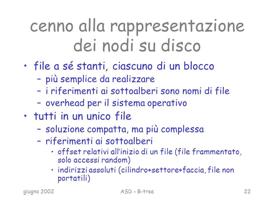 giugno 2002ASD - B-tree22 cenno alla rappresentazione dei nodi su disco file a sé stanti, ciascuno di un blocco –più semplice da realizzare –i riferimenti ai sottoalberi sono nomi di file –overhead per il sistema operativo tutti in un unico file –soluzione compatta, ma più complessa –riferimenti ai sottoalberi offset relativi allinizio di un file (file frammentato, solo accessi random) indirizzi assoluti (cilindro+settore+faccia, file non portatili)