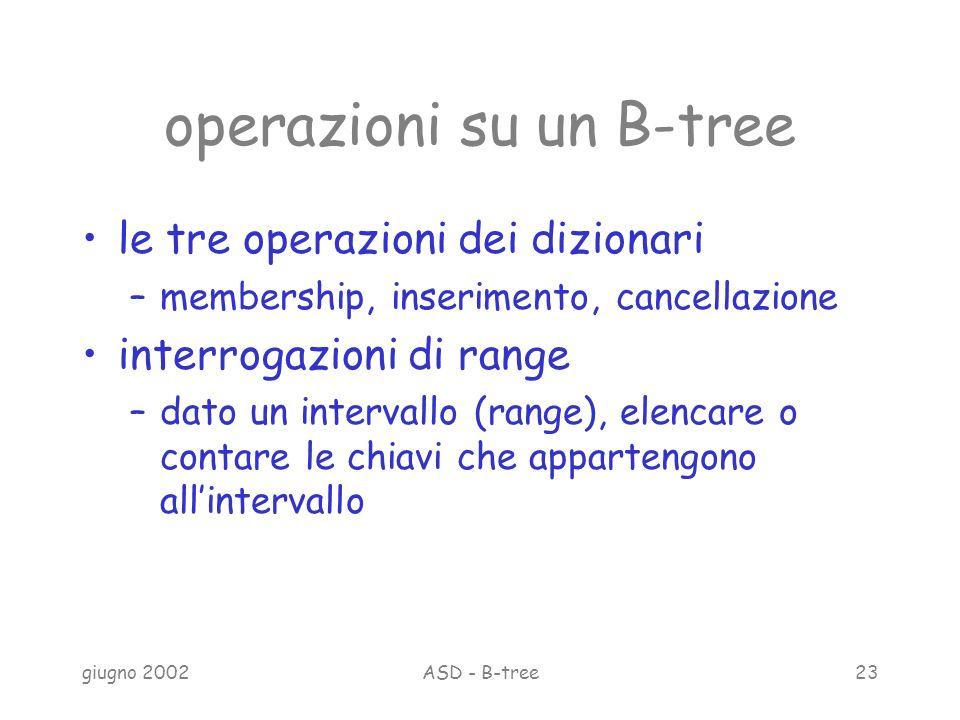 giugno 2002ASD - B-tree23 operazioni su un B-tree le tre operazioni dei dizionari –membership, inserimento, cancellazione interrogazioni di range –dato un intervallo (range), elencare o contare le chiavi che appartengono allintervallo