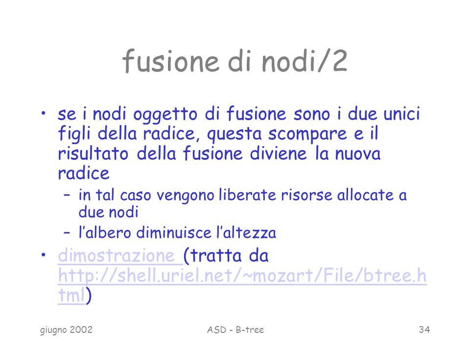 giugno 2002ASD - B-tree34 fusione di nodi/2 se i nodi oggetto di fusione sono i due unici figli della radice, questa scompare e il risultato della fusione diviene la nuova radice –in tal caso vengono liberate risorse allocate a due nodi –lalbero diminuisce laltezza dimostrazione (tratta da http://shell.uriel.net/~mozart/File/btree.h tml)dimostrazione http://shell.uriel.net/~mozart/File/btree.h tml