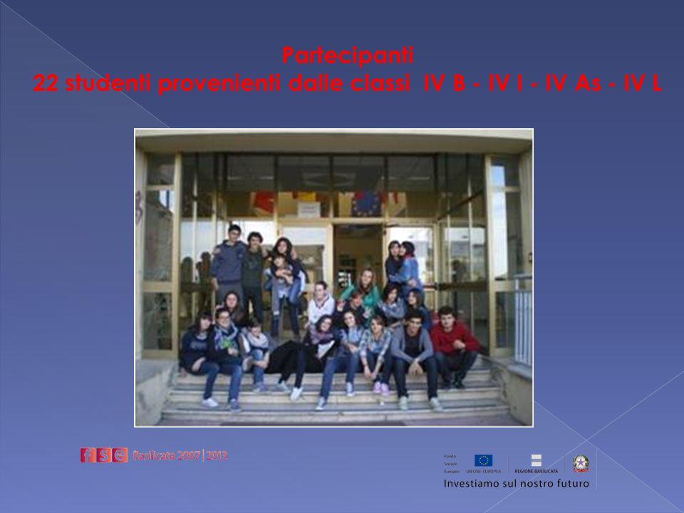 Partecipanti 22 studenti provenienti dalle classi IV B - IV I - IV As - IV L