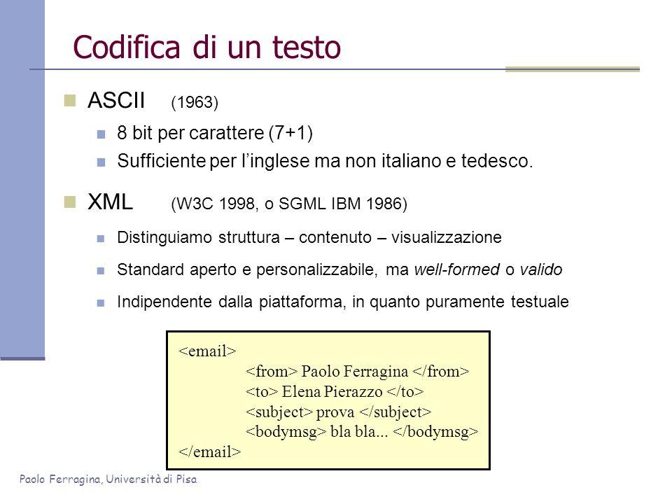 Paolo Ferragina, Università di Pisa Codifica di un testo ASCII (1963) 8 bit per carattere (7+1) Sufficiente per linglese ma non italiano e tedesco. XM