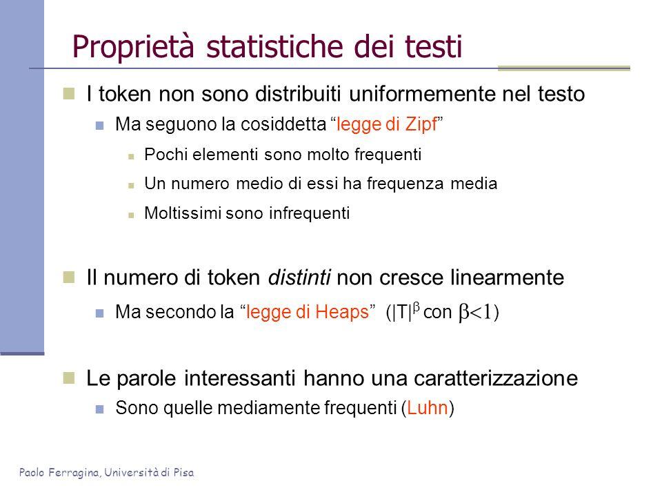 Paolo Ferragina, Università di Pisa Proprietà statistiche dei testi I token non sono distribuiti uniformemente nel testo Ma seguono la cosiddetta legg