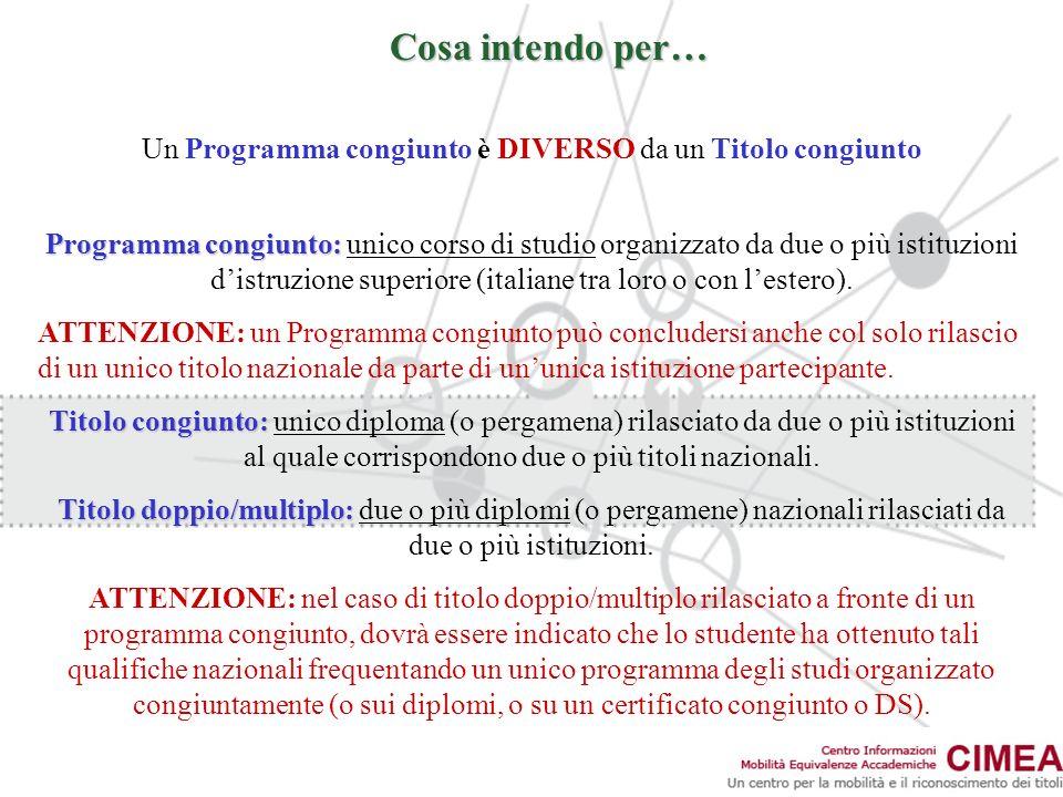 Cosa intendo per… Un Programma congiunto è DIVERSO da un Titolo congiunto Programma congiunto: Programma congiunto: unico corso di studio organizzato