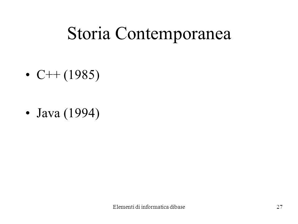 Elementi di informatica dibase27 Storia Contemporanea C++ (1985) Java (1994)