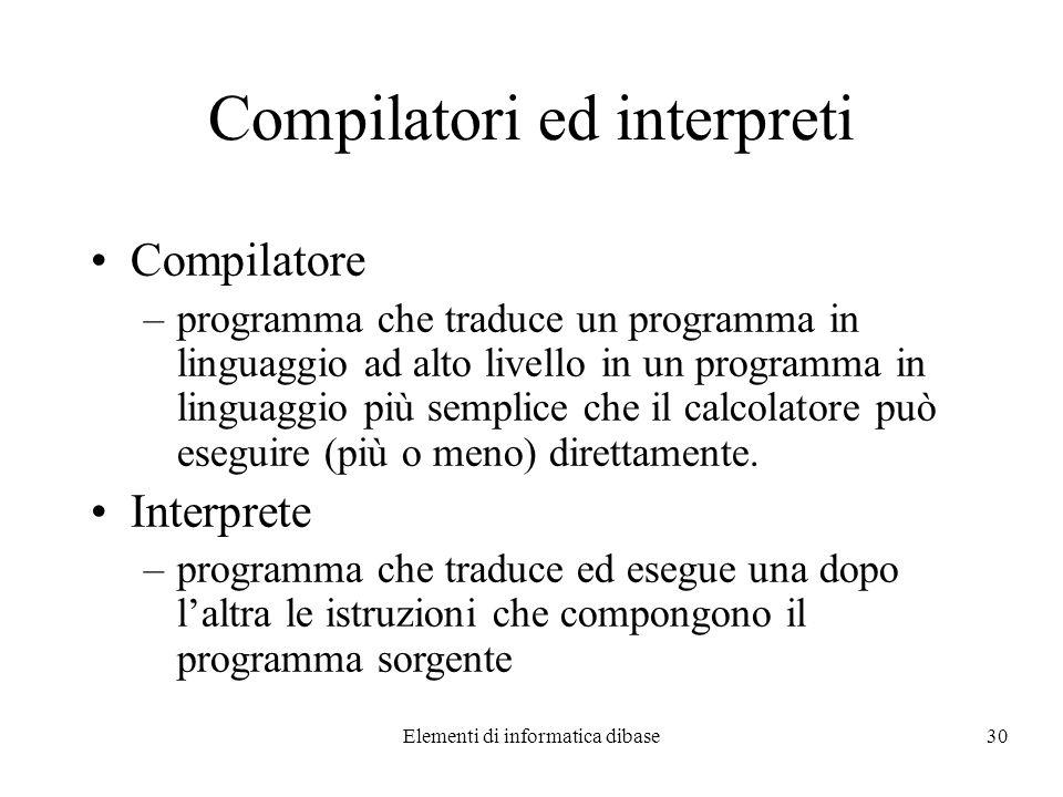 Elementi di informatica dibase30 Compilatori ed interpreti Compilatore –programma che traduce un programma in linguaggio ad alto livello in un program