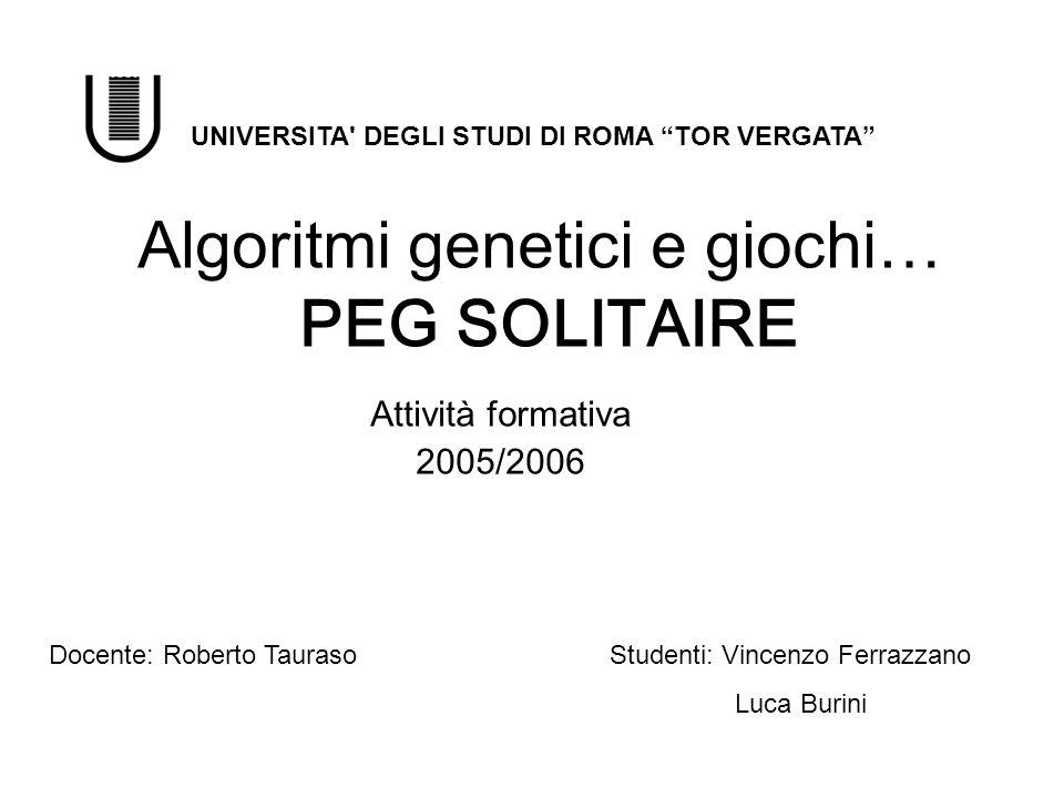 Algoritmi genetici e giochi… PEG SOLITAIRE Attività formativa 2005/2006 Docente: Roberto TaurasoStudenti: Vincenzo Ferrazzano Luca Burini UNIVERSITA'