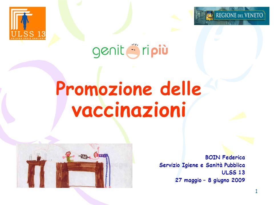 1 Promozione delle vaccinazioni BOIN Federica Servizio Igiene e Sanità Pubblica ULSS 13 27 maggio – 8 giugno 2009