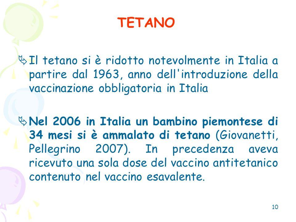 10 TETANO Il tetano si è ridotto notevolmente in Italia a partire dal 1963, anno dell'introduzione della vaccinazione obbligatoria in Italia Nel 2006