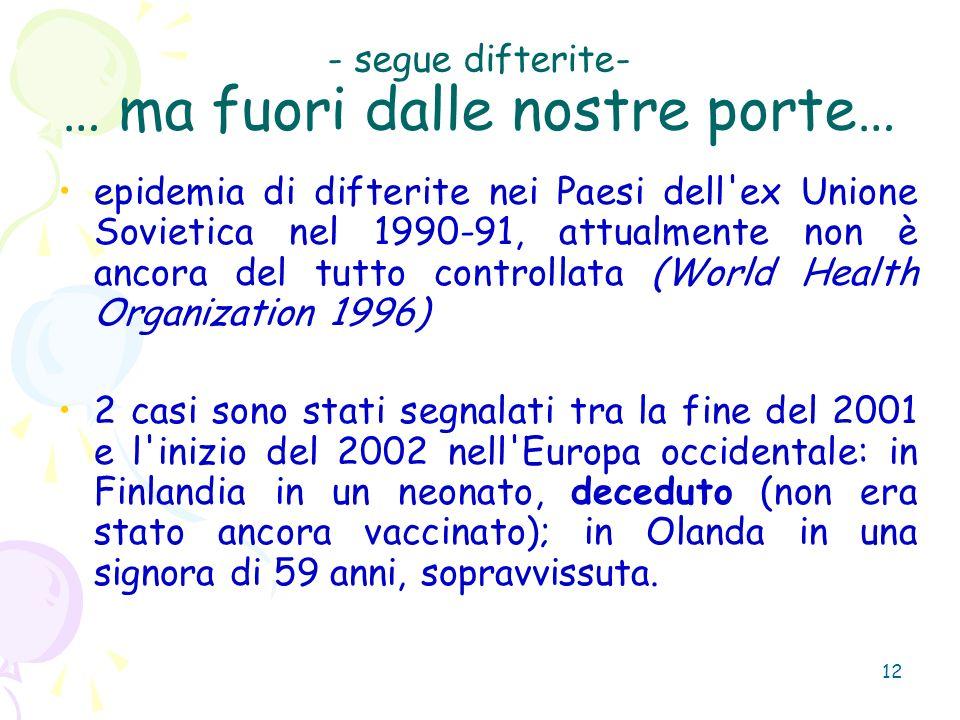 12 - segue difterite- … ma fuori dalle nostre porte… epidemia di difterite nei Paesi dell'ex Unione Sovietica nel 1990-91, attualmente non è ancora de
