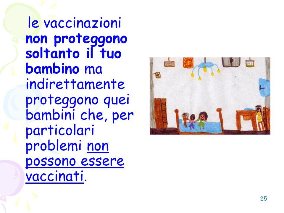 25 le vaccinazioni non proteggono soltanto il tuo bambino ma indirettamente proteggono quei bambini che, per particolari problemi non possono essere v