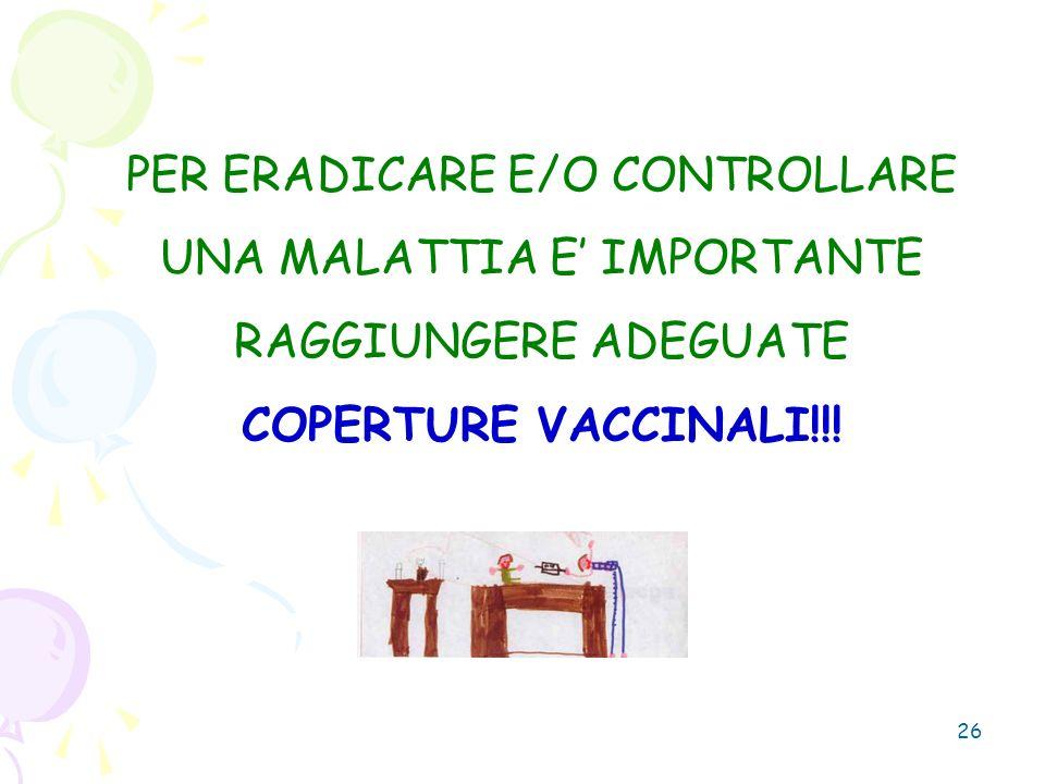 26 PER ERADICARE E/O CONTROLLARE UNA MALATTIA E IMPORTANTE RAGGIUNGERE ADEGUATE COPERTURE VACCINALI!!!