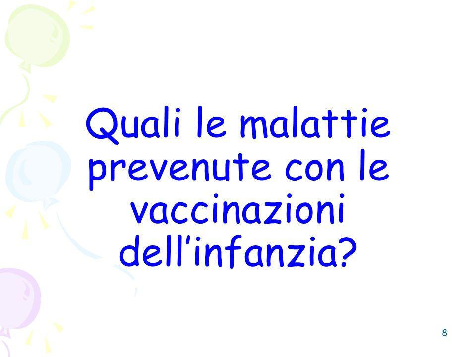 8 Quali le malattie prevenute con le vaccinazioni dellinfanzia?