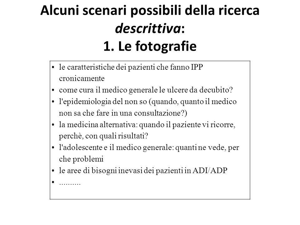 Alcuni scenari possibili della ricerca descrittiva: 1. Le fotografie le caratteristiche dei pazienti che fanno IPP cronicamente come cura il medico ge