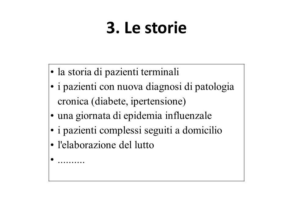 3. Le storie la storia di pazienti terminali i pazienti con nuova diagnosi di patologia cronica (diabete, ipertensione) una giornata di epidemia influ