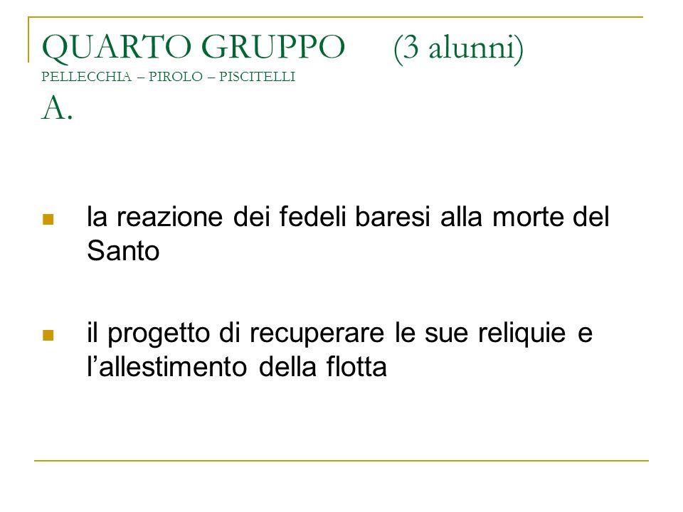 QUARTO GRUPPO (3 alunni) PELLECCHIA – PIROLO – PISCITELLI A. la reazione dei fedeli baresi alla morte del Santo il progetto di recuperare le sue reliq