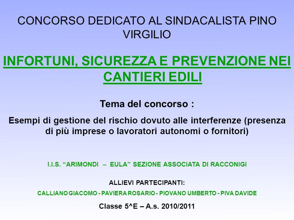 CONCORSO DEDICATO AL SINDACALISTA PINO VIRGILIO INFORTUNI, SICUREZZA E PREVENZIONE NEI CANTIERI EDILI I.I.S.