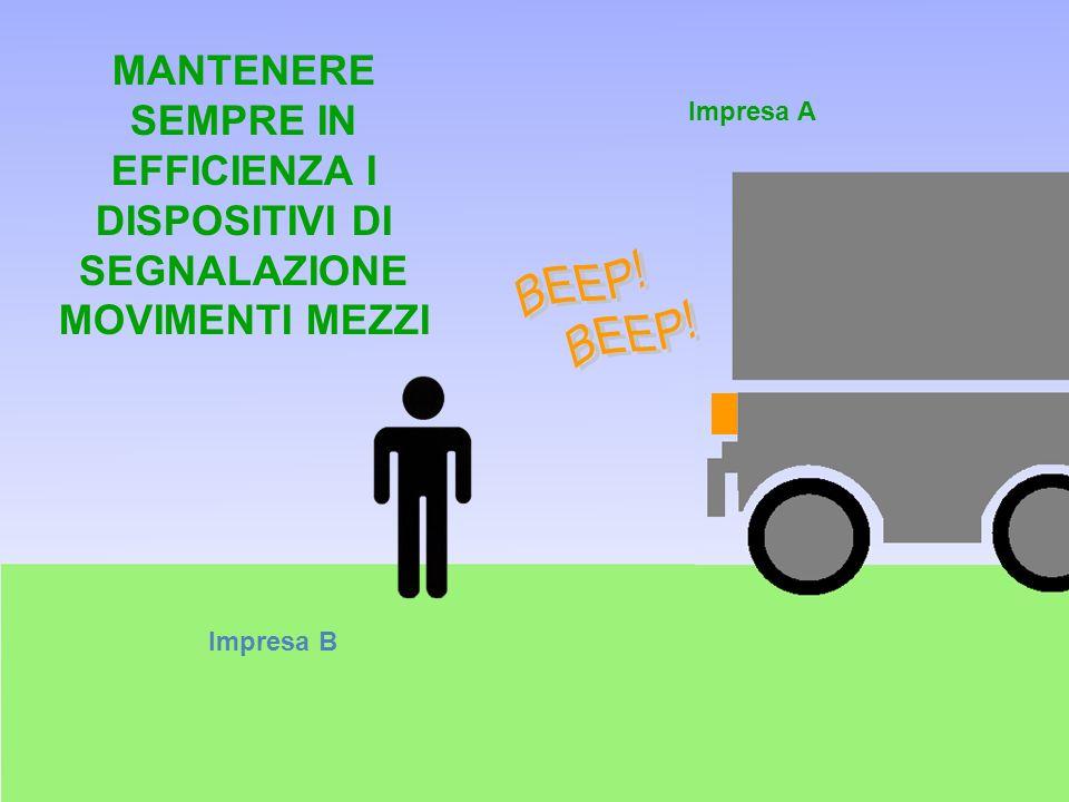 Impresa B Impresa A MANTENERE SEMPRE IN EFFICIENZA I DISPOSITIVI DI SEGNALAZIONE MOVIMENTI MEZZI